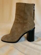 rag bone Willow Round-toe, Studded Mid-heel Bootie, Camel Suede 36.5, 6.5