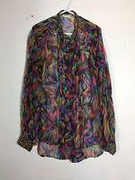 =CHIC=  DRIES VAN NOTEN Multicoloured Ethnic Print Silk Party Blouse Shirt US6
