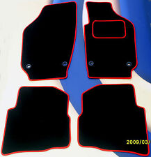 SEAT LEON MK1 + FR/CUPRA 02 to 05  BLACK CAR MATS / RED TRIM WITH 4 OVAL CLIPS
