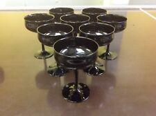 Set of 8 Black Amethyst Stemmed Champagne Glasses