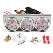 """Universal 2"""" 52mm Chrome Volt Water Oil Pressure Triple 3 Gauge Set Gauges Kit"""
