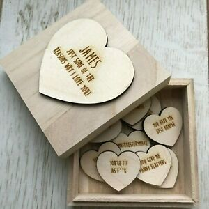Personalised Valentines/Anniversary gift - 10 reasons why I Love you Wooden Box