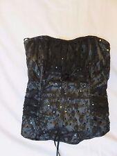 Gothic silky satin Victorian Vamp black & grey lace bustier zip corset unworn 8