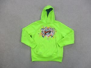 Nike Sweater Youth Medium Green Neon Swoosh Hooded Pullover Hoodie Kids Boys *