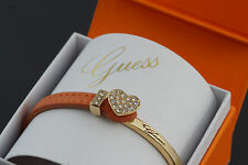 GUESS Damen Armband Armkette Zirkonia Farbe gold Lederband braun USB21305 NEU 1
