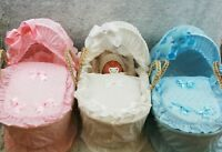 BABY REBORN DOLL MOSES BASKET IN PINK BLUE & WHITE VERY PRETTY, FITS OUR DOLLS