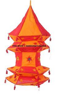 Indien Traditionnel Lightning Suspendu Lampe Beau Miroir Broderie 4 Pied