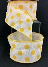 "Linen Waffle Style Wired Edge Dot Ribbon~Yellow, Cream~2 1/2""W x 10 yd"