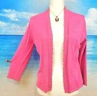 SIGRID OLSEN Womans ROSE PINK Open Front CARDIGAN Top Shirt Sweater size Med