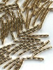 56 Genuine 14kt. Gold Filled Curved & Swirled Tube Beads - 13x1.5mm - Sparkle !!