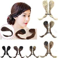 Women Fishtail Plaited Braids Bangs Synthetic Side Fringe Clip In Hair Extension