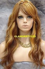 Human Hair Blend Beach Wavy Strawberry Blonde Lace Front Full Wig Hair Piece NWT