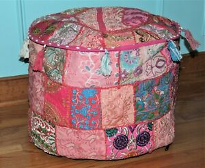 "20"" Indian Patchwork Round Foot Stool Ottoman Pouf Cover - Pink Embroidered"