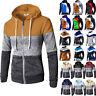 Men Hoodie Sweatshirt Patchwork Jacket Hood  Zipper Pullover Jumper Coat Outwear
