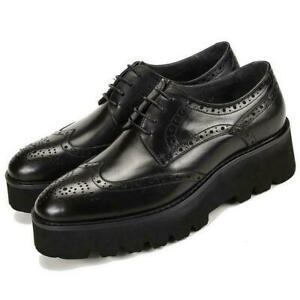 Men real Leather Platform Wedge Lace Up Formal Dress Brogue Wing tip Shoes Size