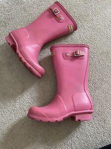 Pink Hunter Wellies Wellington Boots Size UK 12 Girls Childs Kids