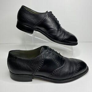 Vintage 1980s FootJoy Black Bullhide Leather Brogue Wingtips Mens 10.5 D USA