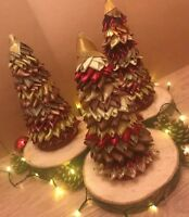 Christmas Ribbon Trees Handmade Table Decorations Centre Piece Festive Ornament