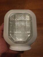 Vintage Art Deco Bathroom Light/Sconce Shade Globe White & Clear Glass Beacon