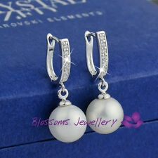 18K White GOLD GF Wedding Pearl Dangle EARRINGS with Swarovski CRYSTAL ES462