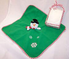 "Christmas Snowman 19""x19"" Fleece Baby Blanket in Tote Bag"