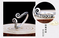 Small Vintage Women Unisex Tibetan Silver Open Inhibition Clouds Adjustable Ring
