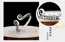 Big Vintage Unisex Women Tibetan Silver Inhibition Clouds Open Adjustable Ring