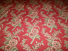 Pottery Barn Full/Queen Duvet Red Floral Beige Green Cotton Button Closure