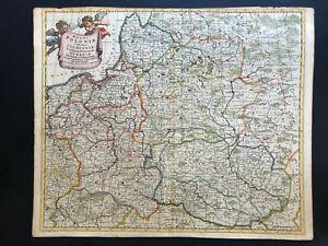 069 Antique Original 1700 map of Poland, Ukraine, Lithuania by Justus Danckerts