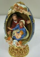 "Vintage Faberge Limited Edition Christmas Egg Shaped "" Nativity Scene"" EXCELLENT"
