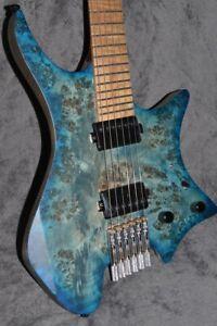 NK Headless guitar Fanned Frets 5-ply Roasted Maple Neck eye poplar blue color