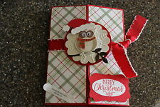 Stampin Up Owl Merry Christmas with Santa hat homemade greeting card 5816