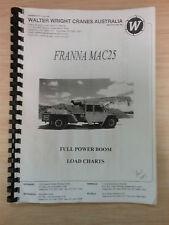 Crane Franna Mac25 Full Power Boom Load Charts Manual/Catalog