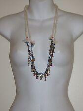 Anthropologie Cream Rope Navy  Bead Antique Brass Tassel Fringe Necklace Lot 2