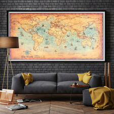 BIG  Ocean World Map Antique Vintage Poster Wall Home Decor 100 x 50 CM