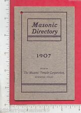 8080 Masonic Temple Corp 1907 Directory Norwich, CT calendar John C Averill