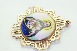 VINTAGE 14K VIRGIN MARY AND JESUS ENAMEL PENDANT Christ Miraculous Medal 💖