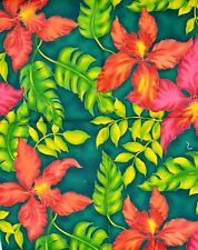 Hawaiian Print Green and Red Fat Quarter Cotton Fabric