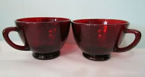 Vintage Anchor Hocking Royal Ruby Red Glass Snack Punch Tea Cups 1938 A Pair EUC
