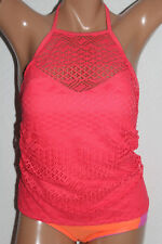 *NEW Island Escape Coral Sky Rincon High Neck Crochet Tankini Top size 10 #I1