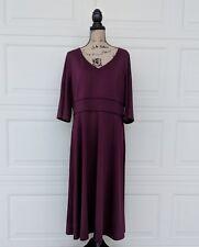 $84 Lands End Sz 16W Plum Purple V-Neck Jersey Knit Dress Bell Elbow Sleeve Midi