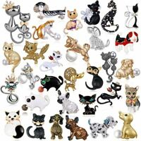Charm Women Animals Crystal Puppy Dog Cat Brooch Pin Cute Party Jewelry Hot Gift