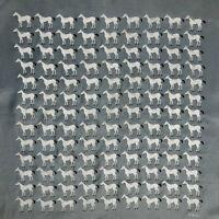 "Vintage 1950's VERA Neumann White Horses Silk Scarf Grey Hand Rolled Edges 16"""