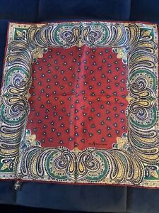 Polo Ralph Lauren Pocket Square Silk Multi  Paisley Italy Vintage Handkerchief