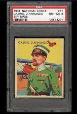 1934 National Chicle Sky Birds SETBREAK Gabriel D'Annunzio #61 PSA 8 HI END pop5