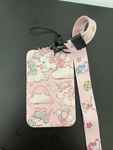 Pink Unicorn Girls Pastel RaInbow Id Card Holder Neck Strap Lanyard Charm Kawaii