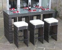 All Weather Mixed Brown Rattan Garden Drinks Bar 6 Stool Furniture Dining Set