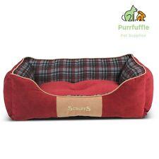 EXTRA LARGE Scruffs Highland Dog Box Bed Red Tartan Machine Washable 90 x 70CM