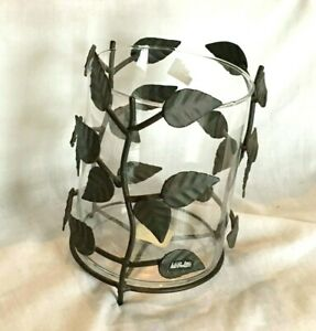 Metal Leaves & Glass Vase Candle Holder Hurricane Vase-NEW