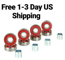 8-Pack Reds Skateboard bearings with Spacers longboard scooter wheels abec 9 11